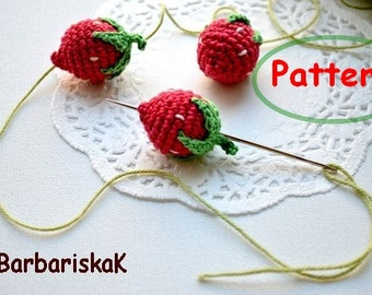 Pattern Strawberry PDF Crochet Strawberry Tutorial Kitchen decor Strawberry Party Green red Jummy berry Summer spring decor Strawberry beads