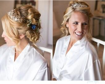 For Bride Something Blue Wedding Hair Pin, Bridal Hair Flower, Small Flower Hair Clip, Blue  Flower Hair Pin Crystal
