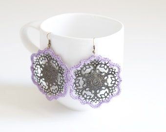 Lilac Crochet Medallion Earrings