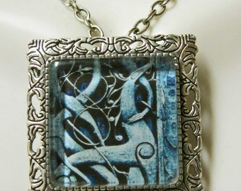 Carved greyhound convertible pendant/brooch with chain - DAP35-035