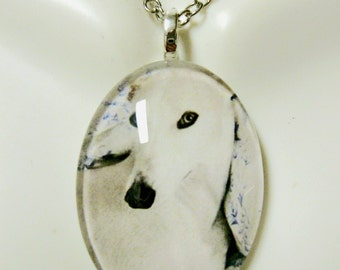 White greyhound pendant and chain - DGP04-005