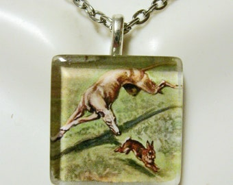 Greyhound chase pendant and chain - DGP01-150