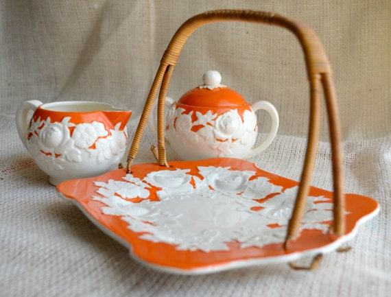 Moriyama Mori-Machi Porcelain Tea Time Set // Orange and White Floral Sandwich and tea service // Vintage cream, sugar & server  set