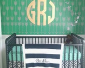 "Nursery Decor, Wall Decor for Boys, 18"" , 24"" or 30 inch Circle Monogram, Wooden Monogram, Personalized and Preppy Gifts, Block Wood Letters"