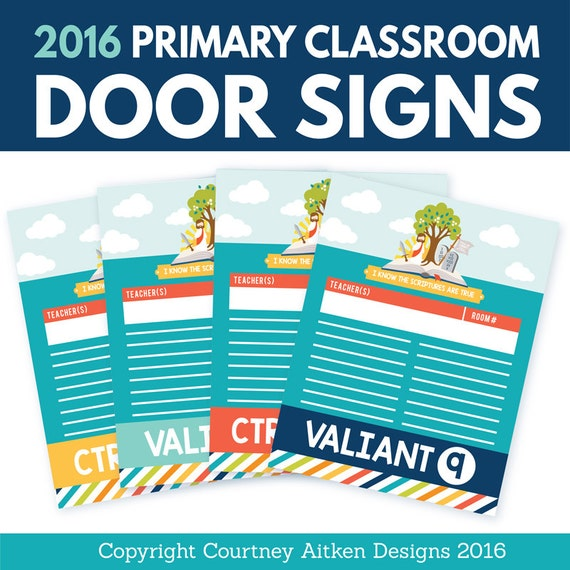 40% off! (Regularly 5.99) 2016 LDS Primary Classroom Door Signs