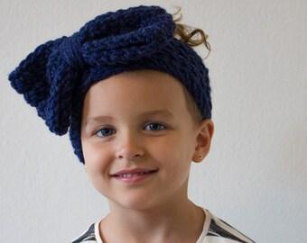 Navy Blue Oversized Girl's Bow Head Band