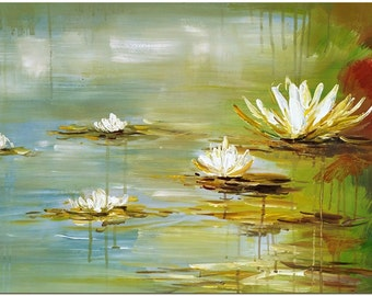 Hand Painted Impressionist Water Lilies Flower Oil Painting On Canvas - Certificate of Authenticity Included