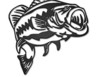 Decorative Large Mouth Bass Metal Wall Art Hanging Home Decor Fishing Man Cave
