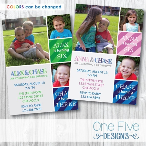 Joint Birthday Party Invitation Siblings Choose Your Colors