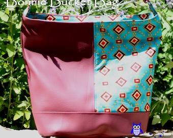 Clearance: Bonnie Bucket Bag, Southwestern Print Bucket Bag, Shoulder Bag, Vegan Handbag, Swoon Bucket Bag