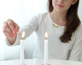 Geometric candlesticks, Modern Judaica,Bat Mitzvah Gift, Pink ceramic candle holders, Trendy pair of Shabbat candlesticks, Made in Israel