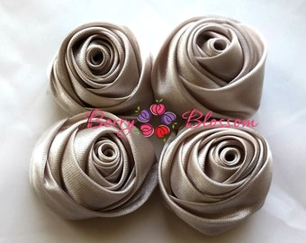 "Silver Satin Rosette - 2"" inch size - satin rose flowers - rolled soft rosette - Set of 4"