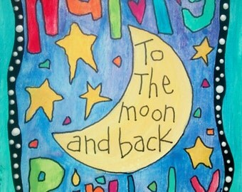 Happy Birthday to the Moon & Back  Wooden Postcard