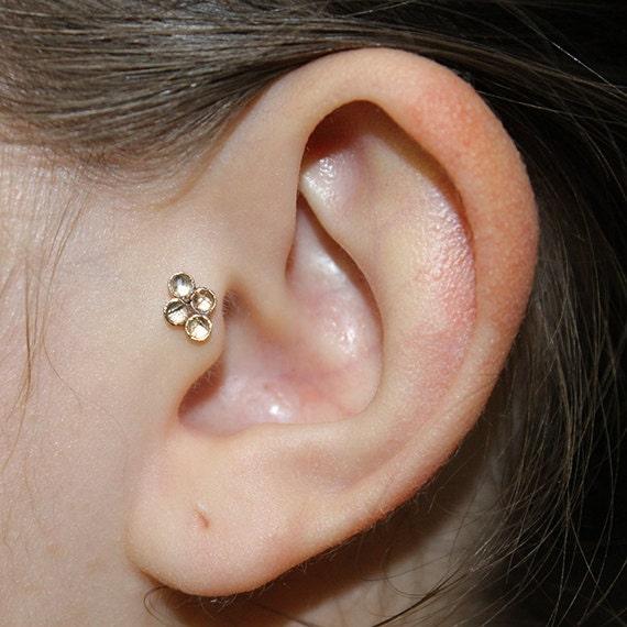 2mm Topaz Tragus Stud 18g - Gold Nose Ring Stud - Tragus Earring - Helix Piercing - Cartilage Stud - Cartilage Earring 18g - Nose Stud