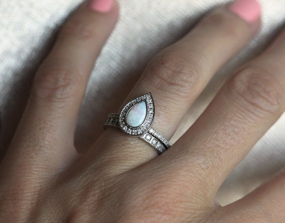 Opal Engagement Ring Halo Diamond Pear