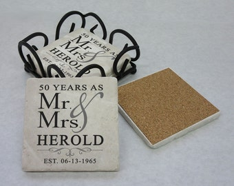 50th Anniversary Gift, Tumbled Stone Coasters, 25th Anniversary, 50th Anniversary, Silver Anniversary, Gold Anniversary