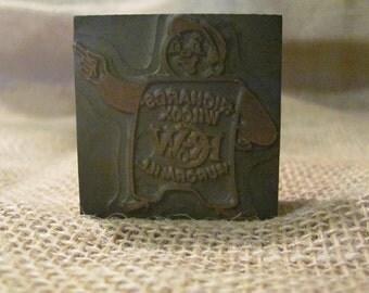 Vintage Wood & Copper Stamp/Printer's Block