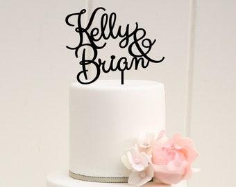 Wedding Cake Topper - Custom Cake Topper - First Name Cake Topper