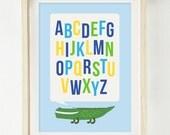 Baby Boy Nursery Print - Crocodile Alphabet - Shower Gift - Gender Reveal Print