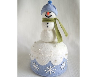 Snowman Pincushion PDF pattern felt craft instant download