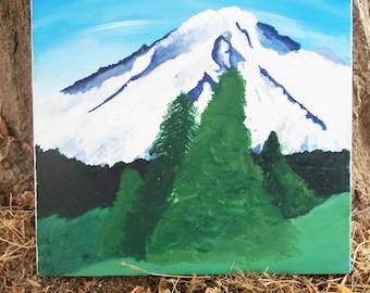 Washington Cascades Mount Rainier Scenic Landscape Painting with Acrylics, rainier art, original painting
