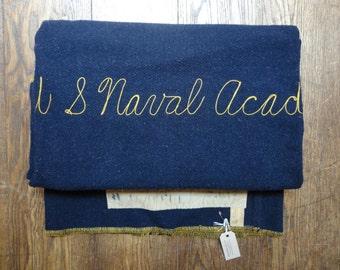 Vintage 1940s 40s Naval Academy USNA blanket navy blue yellow Horner Woolen Mills 100% wool WW2 chain stitch