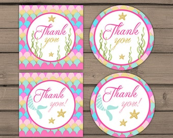 Mermaid Thank You Tags Birthday Mermaid birthday Cupcake Toppers Favor Tags mermaid Thank you labels Instant download Digital Printable DIY