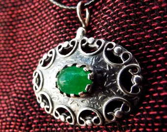 Silver Pendant Jade Gemstone Sterling 925 Handmade Antique Vintage Gothic Necklace Jewelry