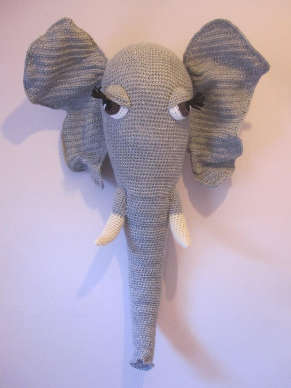 Large Crochet Wool Mounted Stuffed Trophy Head