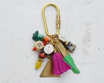 Personalized Initial Charm Keychain