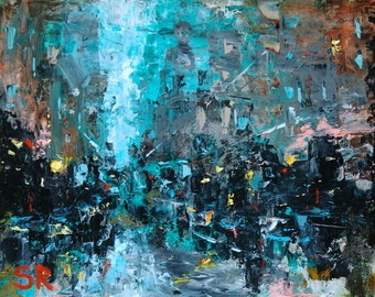 Large Art, Original Abstract Painting 36 x 48, New York Cityscape, NYC Wall Art, Large Cityscape Painting Large Abstract Art, Large Painting