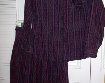 Dress XL, Two Pieced Maxi  Dress Khazana Wonderful Paisley Striped Cotton Transitional Outfit XL