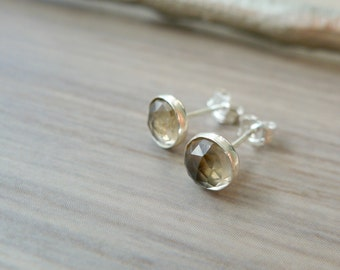 Sterling Silver Smoky Quartz Studs, Smokey Quartz, Faceted Gemstone, Light Smoky Quartz, Smoky Quartz Earrings