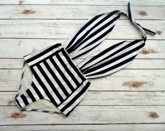 One Piece Swimsuit High Waisted Vintage Style Pin-up Maillot - Black and White Striped Retro Monochrome Backless Bathing Suit Swimwear