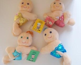 """Choose One: Huggins Clip On Dolls  Kenner 1984 Taco Bell Fluffer Hug-A-Bye Gigglet Tuggins 7"""""""