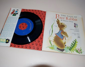 Peter Rabbit Read and Hear Little Golden Book & 45 RPM Record 1958