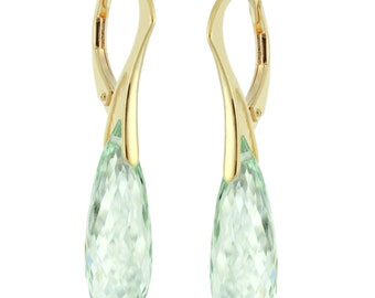 14k Gold Over 925 Sterling Silver Briolette Natural Green Amethyst Earrings