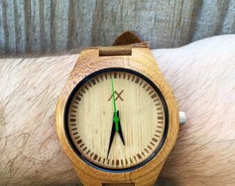 Minimalist Wooden Watch, Bamboo Wood Watch, Engraved Wooden Watch, Mens Watch, Handmade for Men Women, Gift for Him, Groomsmen Gift