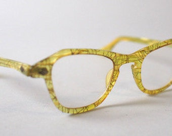 1950s Lucite & Gold Confetti Cat Eye Eye Glasses