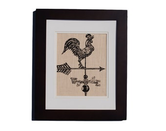 Rooster Weathervane Wall Art Print - Screen Printed Linen - Rustic Home Decor - Country Farm Decor - Country Wall Hanging