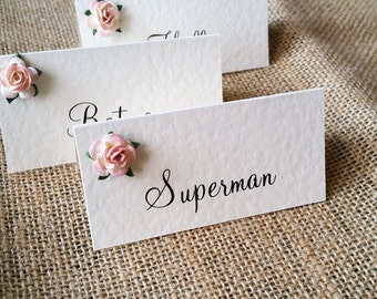Rustic, Vintage Rose, Ivory Folded Place Card