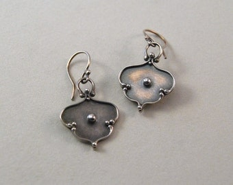 Sterling silver dangle earrings.  Handmade.  Unique.  Limited edition.  Larger arabesque.