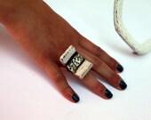 ceramic ring raku geometric striped minimalist modern jewelry