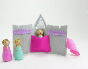 Mini Princess Castle Pocket with single Princess Peg doll, Choose from 3 peg designs, felt castle roll up, handmade kids toy, play on the go