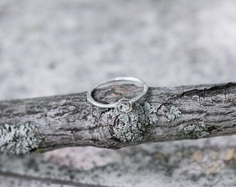 Diamond flower twig engagement ring, floral engagement ring