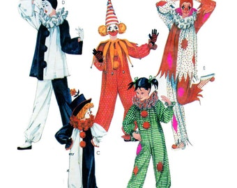 ADULT, Couples, Halloween Costume, Sewing Pattern, McCalls 2623, Circus Clown, Mime, Punchinello, Performer, Harlequin, Jester
