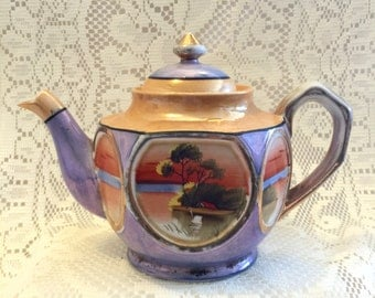 on sale replacement teapot vintage Japanese Lusterware Sunset River Scene Porcelain hand painted