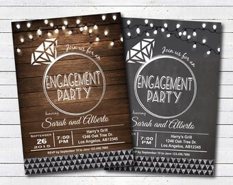Engagement party invitation. Glam string light, rustic wood, chalkboard, silver engagement party, couple shower, wedding shower invite EN106