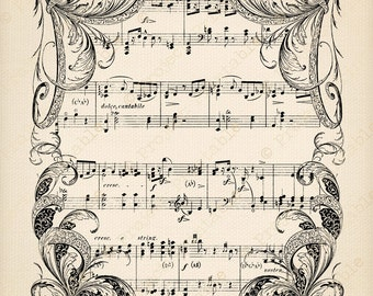 Instant download digital printable - Ornate Frame Sheet Music Background - Fabric Transfer - Clipart graphics iron on Clip Art