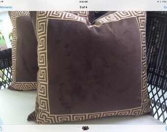 Brown Velvet Pillow Cover with Brown and Cream Greek Key Trim